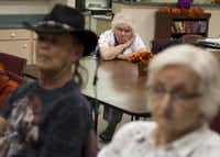 Residents of the Quail Ridge Manor independent living apartment complex watched the presidential debate Tuesday in Boulder City, Nev.