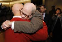 Dale Lincoln Duke hugs his father, George Melville Duke, after he was exonerated and told he was free to go.  Duke's elderly parents would drive eight hours to see him in prison.