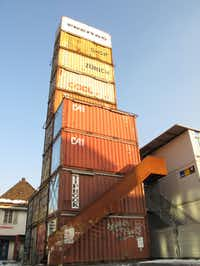 Freitag's flagship store in Zurich, Switzerland is comprised of old shipping containers.