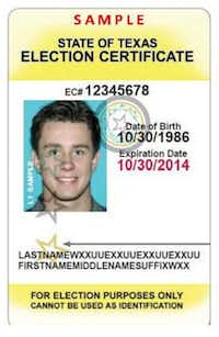 state of texas election certificate - voter card - voter id - voter identification / 07032013xALDIA 08242013xALDIA