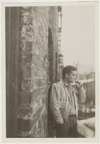 Allen Ginsberg captured this image of writer Jack Kerouac on a New York City building  fire escape in 1953.