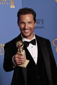 Matthew McConaughey backstage at the 71st Annual Golden Globe Awards show at the Beverly Hilton Hotel on Sunday, Jan. 12, 2014, in Beverly Hills, Calif.(Lawrence K. Ho - MCT)
