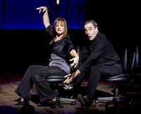 "Patti LuPone, left, and Mandy Patinkin during a concert performance in ""An Evening With Patti LuPone and Mandy Patinkin"" at the Ethel Barrymore Theater in New York, Nov. 15, 2011."