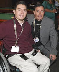 Eddie Canales (right) founded Gridiron Heroes to support former high school athletes who have suffered spinal cord injuries after his son,  Chris Canales, was hurt in a high school football game.
