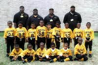 Lincoln High School dual-sport twins Erick and Derrick Neal (second row, second and third from right), have played sports together their entire lives, including flag football with the West Dallas Vikings in 2001.(DMN file photo <137>Courtesy Photo<137> - digital file)