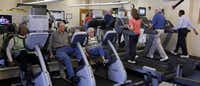 Senior citizens swarmed the exercise room at the Plano Senior Recreation Center on Monday.