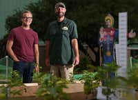 Jason Hayes  (left), creative director for  the State Fair of Texas, and Drew Demler, the fair's greenhouse manager, started Big Texas Urban Farms  to teach about farming and supply the community with produce.(Photos by Rose Baca - Staff Photographer)