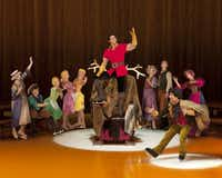 Meagan Midkiff (third from back right), in her first Disney on Ice show, Rockin Ever After, performs in the  Beauty and the Beast segment.