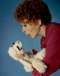 Shari Lewis, Mallory's mother, and the puppet she made famous, Lamb Chop.