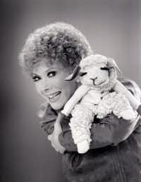 An undated photo of Shari Lewis, Mallory's mother, and Lamb Chop.