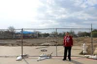 Margaret Young, chairwoman of the Farmers Branch Parks and Recreation Board, stands near the construction site for the Farmers Branch aquatic center. The $8.625 million project will include both indoor and outdoor aquatic amenities.Rose Baca - neighborsgo staff photographer