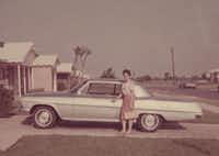 The book includes a Òthen and nowÓ section comparing old photographs to new. Here, Angie Mayo poses next to a car outside her Farmers Branch home in 1962 (left) and again in 2013.