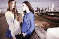 "Alexander Wang color-block silk drawstring skirt, $375, Barneys New York; Alexander Wang citrus and gray V-neck sweater, $495, and blue ""Marion"" bag, $650, both from V.O.D. Alexander Wang blue silk piped top, $465, blue cotton knit hoodie, $170, and glitter rocker pants, $495, all from Neiman Marcus, NorthPark Center; Alexander Wang blue wristlet, $235 Barneys New York"