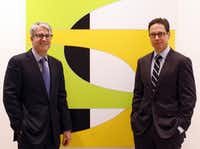 John Sughrue and Chris Byrne, co-founders of the Dallas Art Fair, with a work by Aaron Parazette