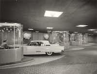 "From the archives. The Mercantile complex, circa 1958, as shot by the noted architectural photography firm Hedrich Blessing. The chic drive-up teller booths were for ""motorbanking."""