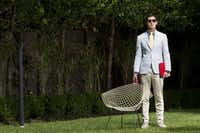 Neiman Marcus private-label jacket, $695; polka-dot shirt, Tom Ford exclusively for Neiman Marcus, $755; Prada khakis, $530; Prada Uomo canvas oxfords, $940; Isaia Napoli silk necktie, $225; Ray-Ban sunglasses, $150; all Neiman Marcus; red Celine iPad case, $1,100, Forty Five Ten(Steve Wrubel)