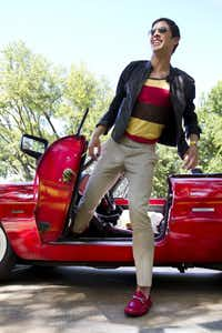 Lanvin laser-cut leather jacket, $3,795, Forty Five Ten; striped tank top, $36, Urban Outfitters; Prada Uomo checked pants, $610, Neiman Marcus; Louis Vuitton Lovely Cup collection Tambour watch, $5,500, Louis Vuitton NorthPark Center; Etro embossed leather duffle bag, $1,930, Neiman Marcus; Balmain scarf, $485, Forty Five Ten; 1986 Alfa Romeo Spider courtesy of Tim Bunkley, president, Classic Chassis Car Club, classicchassis.net(Steve Wrubel)