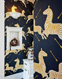 "Scalamandré's Zebras provides the hall's ""crazy wallpaper moment."""