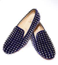 "Christian Louboutin ""Rolling Spikes"" purple velvet women's flat,, $1,195, Christian Louboutin"