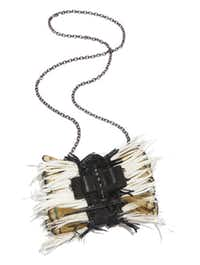 "Christian Louboutin ""Sweet Charity"" feathered shoulder bag, $1,195, Christian Louboutin"