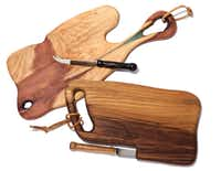Chestnut and red cedar cutting boards, $86 each, and knives, $48 each, Molto Formaggio