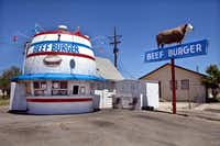 The Beef Burger Barrel hamburger stand is located  at 3102 Plains Blvd. Amarillo, TX 79102  (806) 374-0101. It opened in 1947 on Route 66 in Amarillo.   Photographed  on May 3, 2012.  (Nan Coulter)