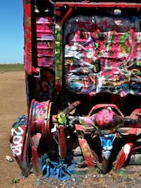 Cadillac Ranch Off of I-40 west of town in Amarillo.  Photographed  on May 3, 2012.