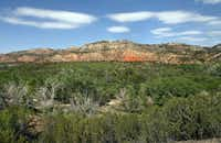 Terrain of contrasting colors - green from junipers, cactus and live oaks and red from its iron-rich soil - at Palo Duro Canyon, the second largest canyon in the United States, thirty miles south of Amarillo. Photographed  on May 3, 2012.  (Nan Coulter)