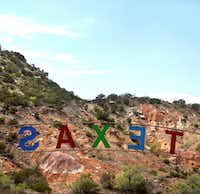 The sign for Texas, the outdoor musical drama performed in Palo Duro Canyon in June ,July and August. Photographed  on May 3, 2012.