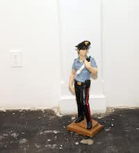 The David, 2008, plaster, urethane and enamel, by Pentti Monkkonen (cq) at the current Passenger (reloaded) exhibition at Angstrom Gallery in Dallas. Photographed on May 1, 2012.