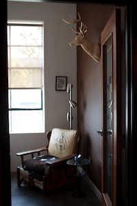 A faux stag hangs in Jeff Breazeale's office; a trophy deer mount hangs in Lix Burnett's.