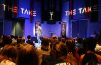 "Landon Pickering, student pastor at River Pointe Church leads ""The Take,"" a youth gathering event at River Pointe Church in Richmond, Texas on Wednesday, March 2, 2016. The weekly youth event brings in 800 youth to the church. (Vernon Bryant/The Dallas Morning News)(Vernon Bryant - Staff Photographer)"