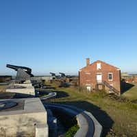 Cannons overlook Cumberland Sound at Fort Clinch, a 19th century fort-turned-state park at Fernandina Beach, Amelia Island, Florida.(Susan R. Pollack)