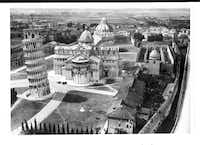 "From ""Saving Italy"" by Robert Edsel: ""Deane Keller entered the Piazza dei Miracoli in Pisa on September 3, 1944 to discover the Camposanto without its roof. Within days experts from Florence arrived in Pisa to gather the shattered fragments that fire and sun had baked off the walls.""  CREDIT: National Archives and Records Administration"