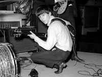 """George Harrison, on Oct. 1, 1963,  during a recording session for the BBC radio program """"Easy Beat."""""""