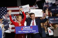 Fiorina and Cruz campaigned in Indianapolis on Wednesday, when he announced that she was his running mate. (Luke Sharrett/Bloomberg)