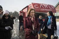 Carly Fiorina was on the campaign trail earlier this month in Bedford, N.H. She dropped out of the race Feb. 10. (Todd Heisler/The New York Times)