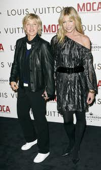 Actress/comedian Ellen DeGeneres, left, and actress Portia deRossi, her wife, chose a vegan diet out of concern for animal welfare.(Gus Ruelas)
