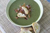 Potato and greens soup with parmesan toasts in Concord, N.H.(Matthew Mead - AP)
