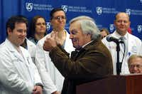 Del Peterson, grandfather of face transplant recipient Dallas Wiens, thanked the surgical team during a news conference at Brigham and Women's Hospital in Boston on Monday.
