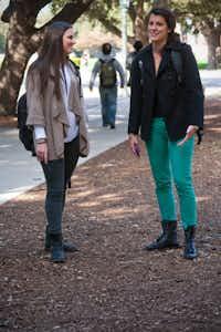 Lauren Scheinin (left), a senior at SMU, and Erica Gliga, a sophomore, talk between classes.