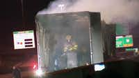 Police say the driver of a car was killed in a fiery crash with an 18-wheeler early Saturday morning. (KXAS-TV NBC5)