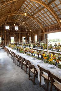 Left:  Tables were set in a classic German-style barn.  Right:  Hosts for the May dinner were Pamela and Frank Arnosky at Texas Specialty Cut Flowers farm.(California Cut Flower Commission)