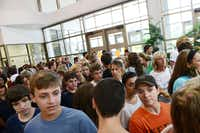 Rockwall High School's incoming freshmen crowd the halls to receive their class schedules during the school's fish camp on Aug. 14. Rockwall ISD has experienced an increase in enrollment, partly due to a recent change in enrollment policies that allows tuition-based enrollment for families who live outside the district.