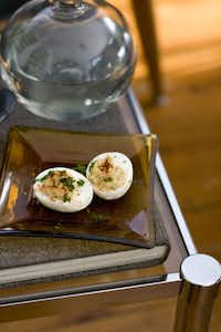 In this Feb. 13, 2012 photo taken in Concord, N.H., a recipe for deviled eggs is shown.
