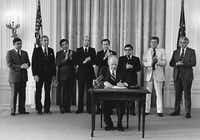 Al Zapanta, behind and to the right of Gerald Ford along with other presidential appointees in the East Wing of the White House as Ford designates September 1976 as National Hispanic Month.( Al Zapanta )
