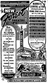 Click to enlarge the grand-opening ad for the Forest that ran in the July 28, 1949, Dallas Morning News.