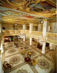 The elegant lobby of the French Lick Springs Hotel in French Lick, Indiana.French Lick Springs Hotel