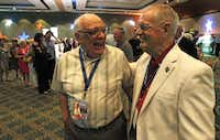 Lou DeLuca (left) shares a laugh with former NASA flight director Glynn Lunney at a pre-launch event. DeLuca and Lunney worked together during the Apollo program.
