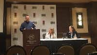 Ted Rutherford with the Texas Association Against Sexual Assault, April Mitchell (center) with the Dallas Area Rape Crisis Center and Noel Busch-Armendariz with the University of Texas at Austin explain that 2 in 5 women and 1 in 5 men in Texas have been sexually assaulted.
